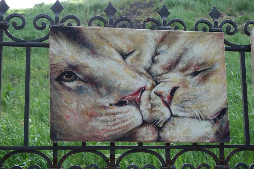 Konst längs Andriyivski uzviz, Kyiv.