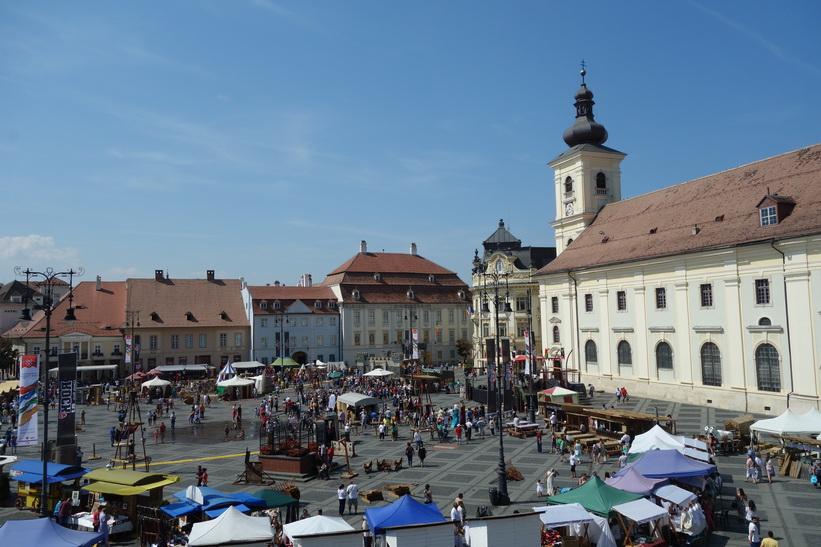 Utsikten från mitt hotellrum på Am Ring, Sibiu.
