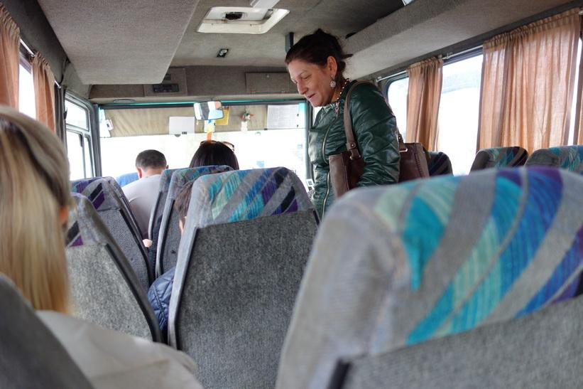 Här har jag precis satt mig i bussen till Tiraspol på busstationen i centrala Chișinău.