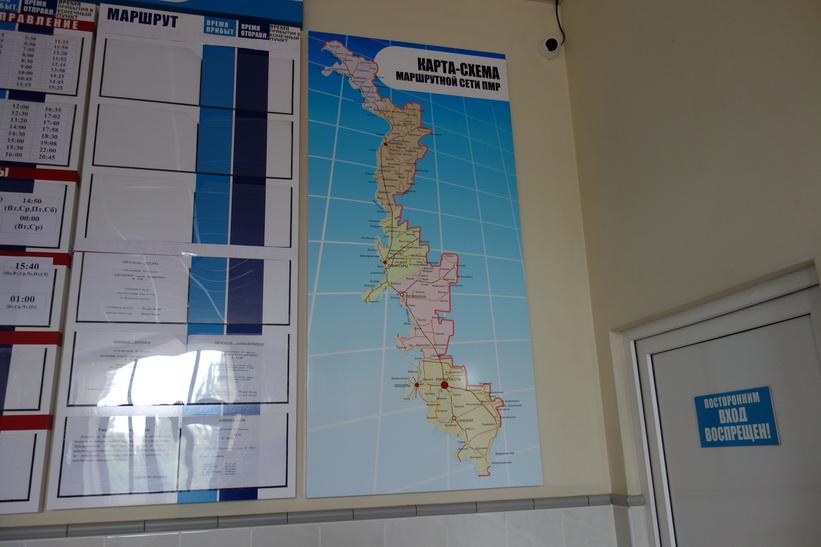 Karta över Transnistrien inne på tågstationen i Tiraspol.