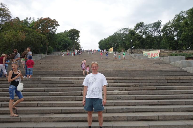 Stefan vid foten av Potemkin-trappan, Odessa.