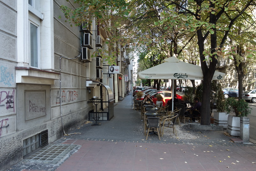 Gatuscen gamla staden i Belgrad.