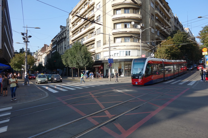 Gatuscen i centrala Belgrad.