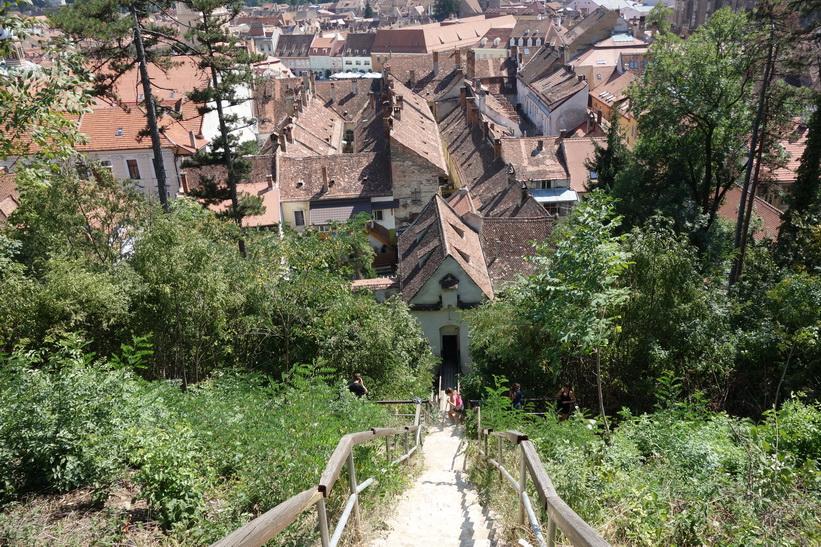 Trappan ned till staden från White tower, Brașov.