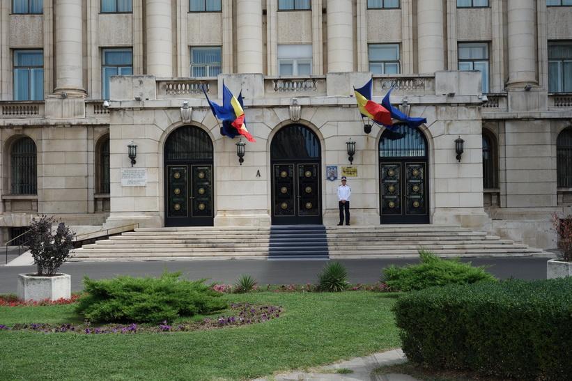 Terrassen där Ceauşescu höll sitt sista tal, forna kommunisthögkvarteret, Bukarest.