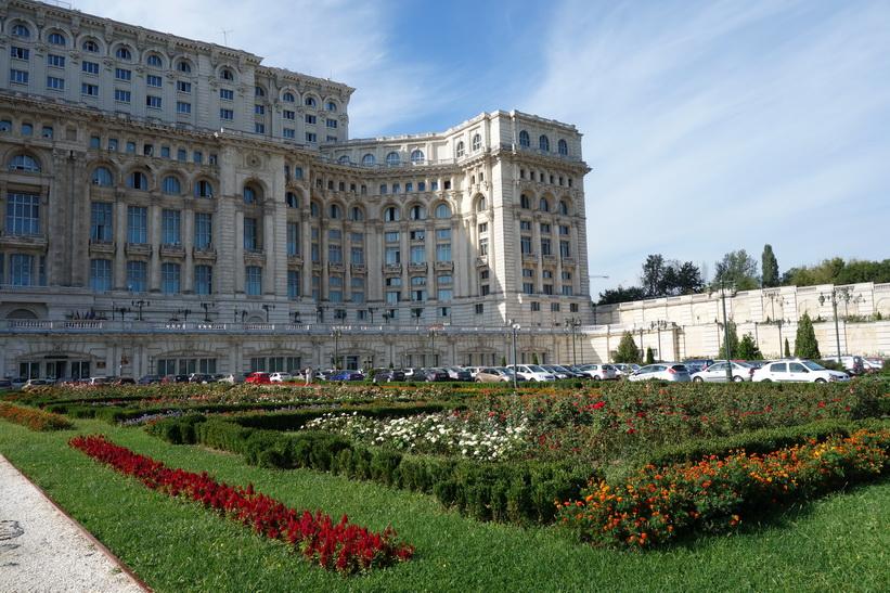 Presidentpalatsets norra gavel där entrén finns, Bukarest.