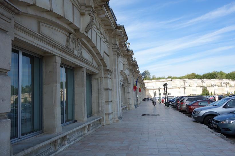 Presidentpalatsets norra gavel vid entrén, Bukarest.