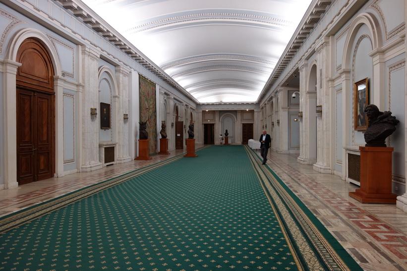 En av de många salarna i palatset, presidentpalatset, Bukarest.