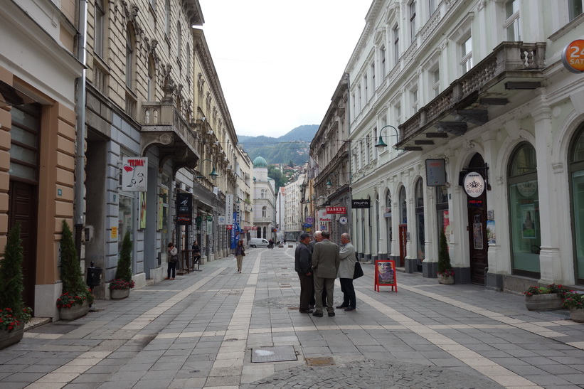 Gatuscen i centrala Sarajevo.