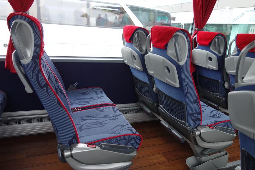 Bussen jag åkte med mellan Sofia och Belgrad.