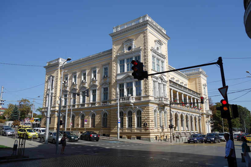 Vacker arkitektur längs gatan Tsar Osvoboditel, Sofia.