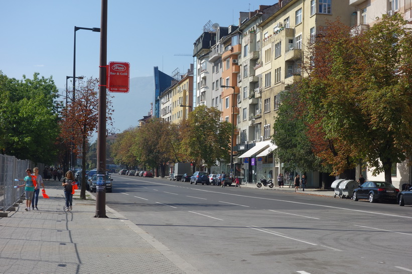 Gatuscen i centrala Sofia.