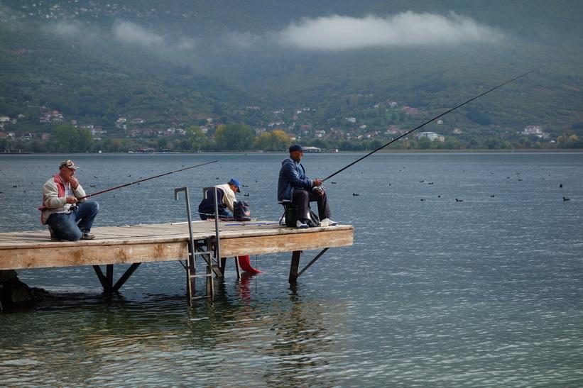 Gubbarna fiskar vid Lake Ohrid.
