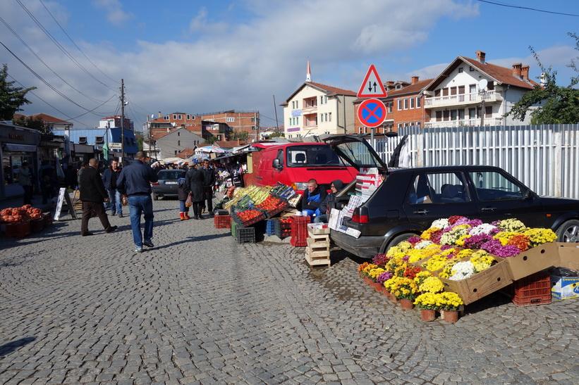 Marknaden i centrala Pristina.