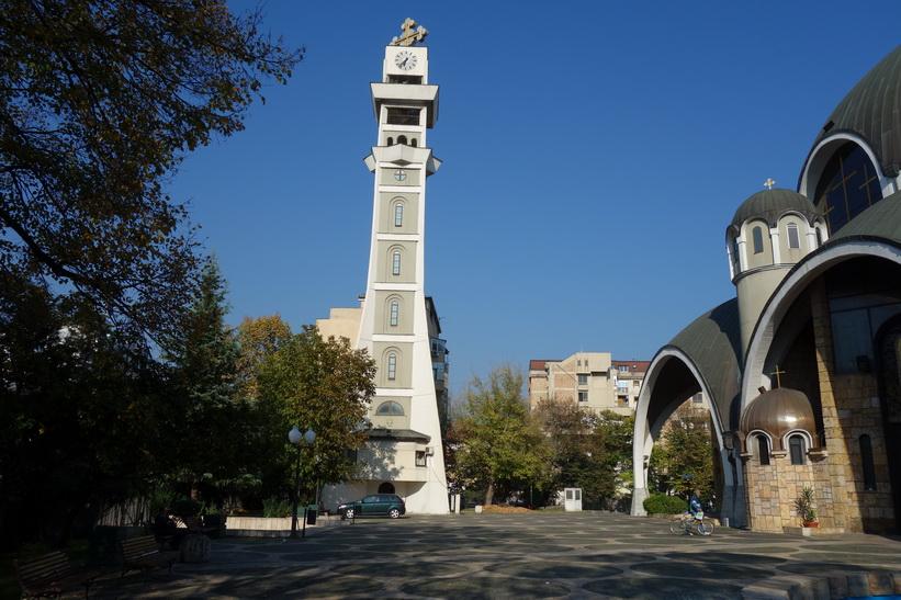 Klocktorn vid The Church of Saint Clement of Ohrid, Skopje.