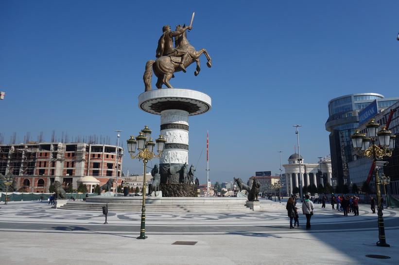 Alexander the Great på Macedonia Square, Skopje.