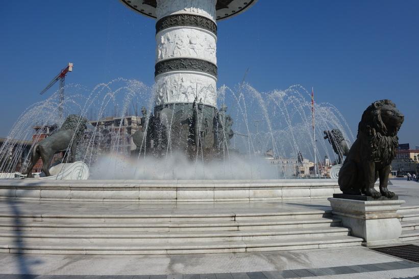 Del av monumentet över Alexander the Great på Macedonia Square, Skopje.