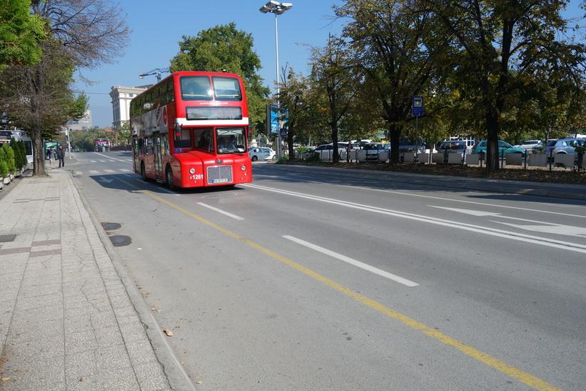 Stadsbuss i centrala Skopje.