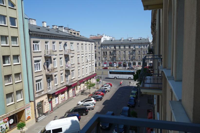 Från balkongen till mitt rum på Hotel Hetman, Warszawa.