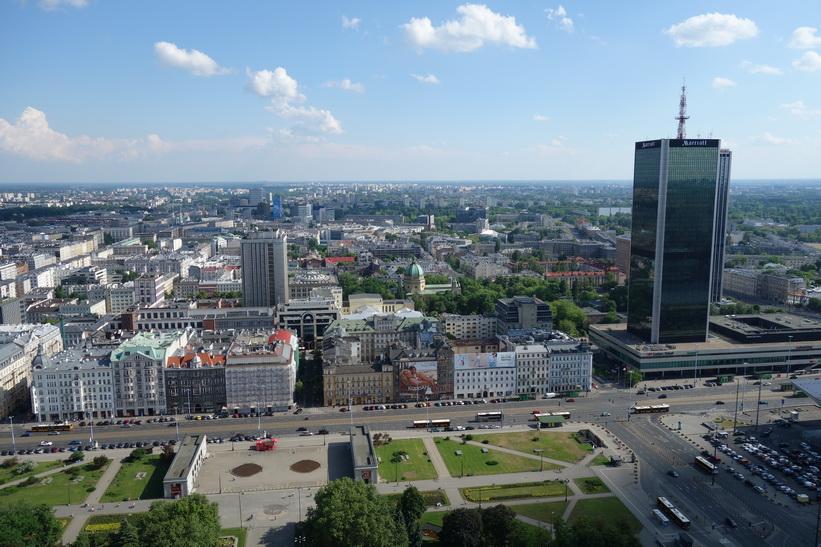 Utsikt från 30:e våningen, Palace of Culture and Science, Warszawa.