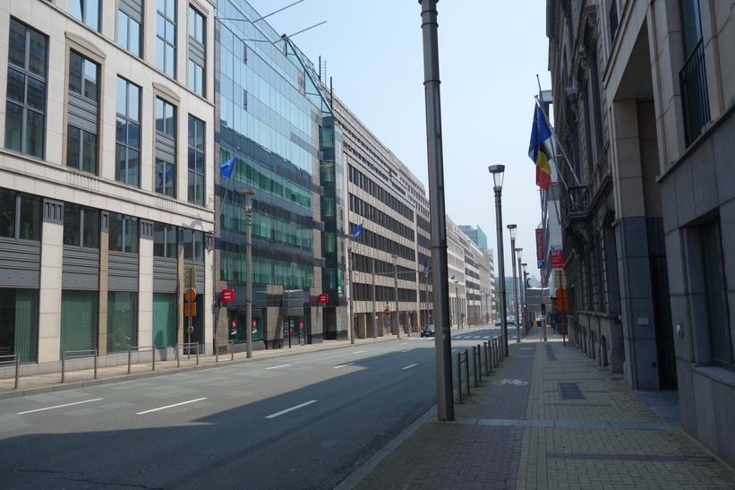 Längs gatan Rue de la Loi, EU-området, Bryssel.