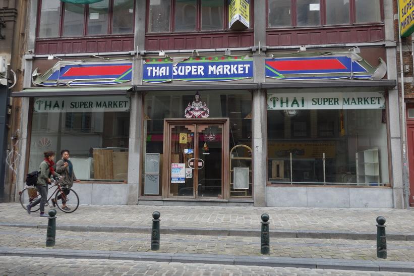 Nedlagd thailändsk affär i centrala Bryssel.