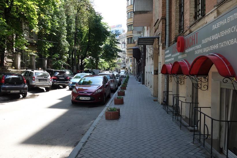 Gatan där jag har mitt boende de första tre nätterna i Kiev.