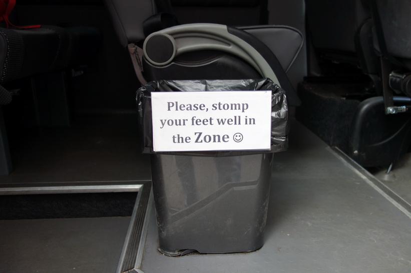 Denna skämtsamma text mötte mig när jag gick in i bussen i Kiev vid 8-tiden på morgonen.