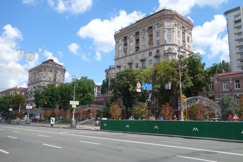 Arkitektur längs gatan Khreschatyk, Kiev.