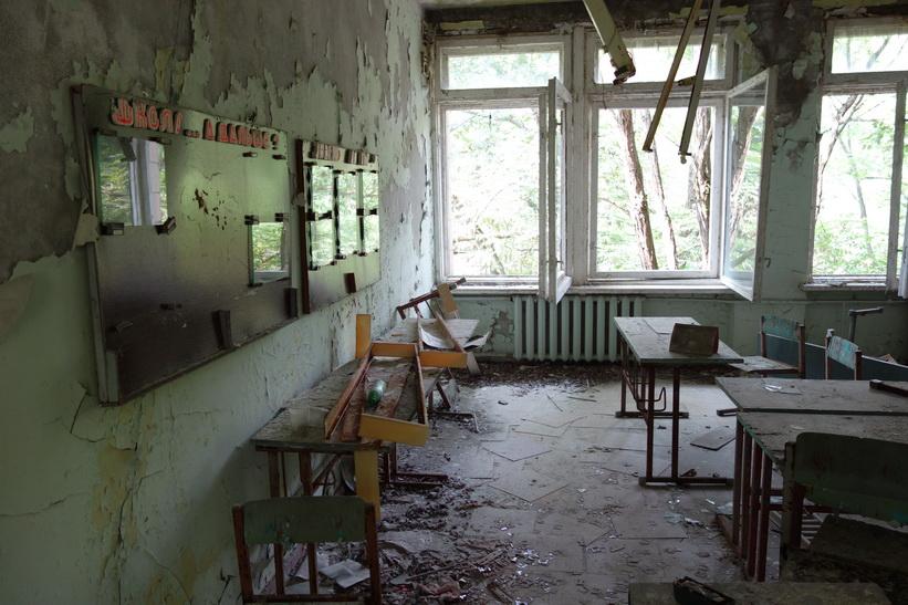 En av lektionssalarna i skolan, Pripyat.