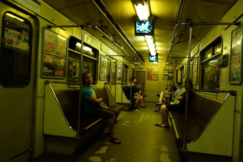 Gammal tunnelbanevagn i Kiev.