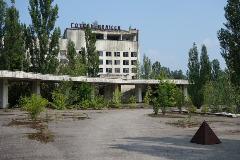 Hotel Polissya i centrala Pripyat.