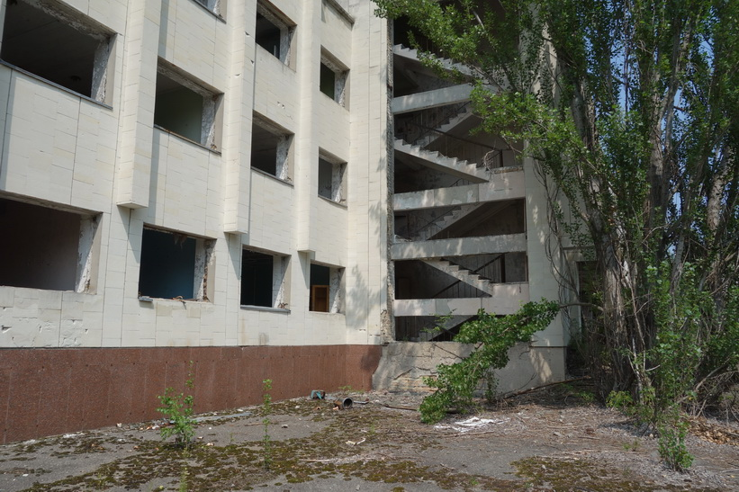 Del av det kulturella centret i centrala Pripyat.