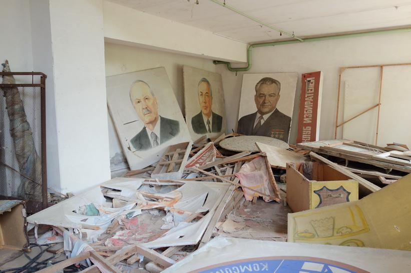 Rum i anslutning till det kulturella centret i Pripyat. Fullt av Sovjet-propaganda.