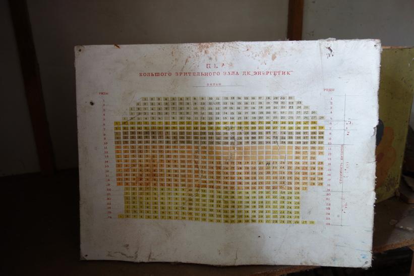 Layout för teatern i det kulturella centret i Pripyat.