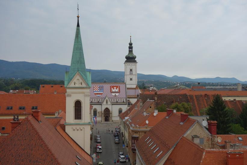 Sankt Markus kyrka från Lotrščaktornet, Zagreb.