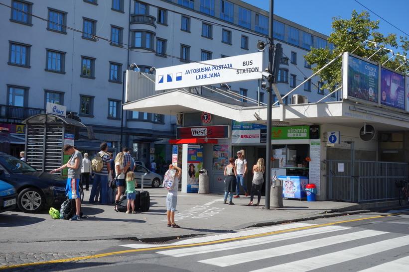 Busstationen i Ljubljana.