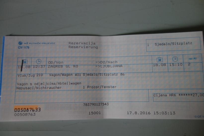 Dagens tågbiljett. Trevligt med lite tyska!