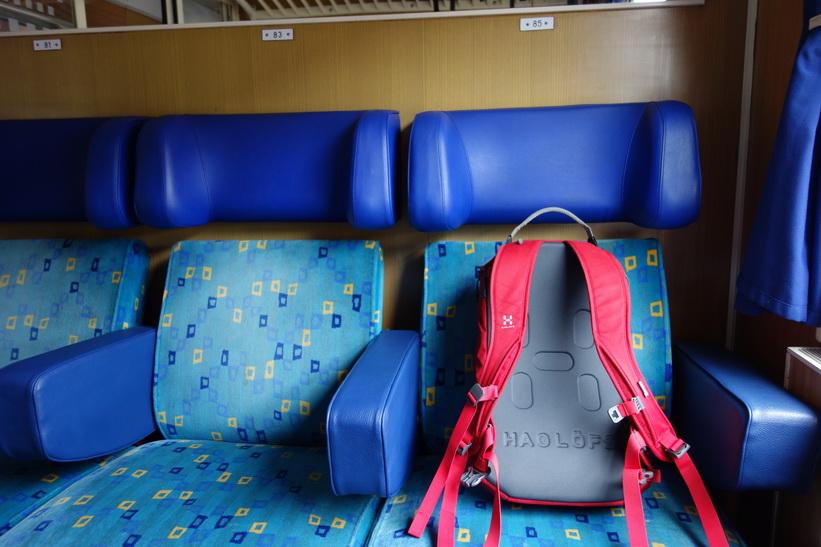 Helt ensam i min kabin på tåget till Ljubljana.