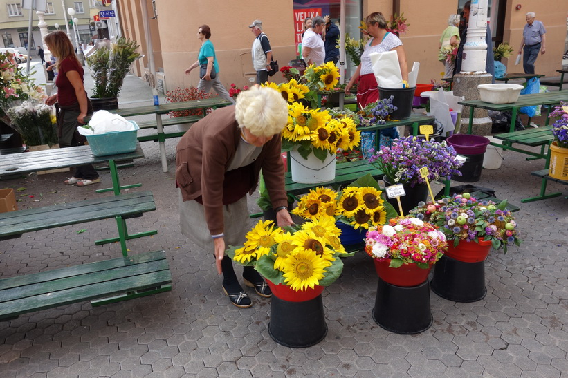 Blomförsäljning vid torget Trg J. Jelačića, Zagreb.