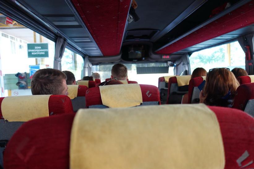 I bussen på väg mot den ungerska gränsen.