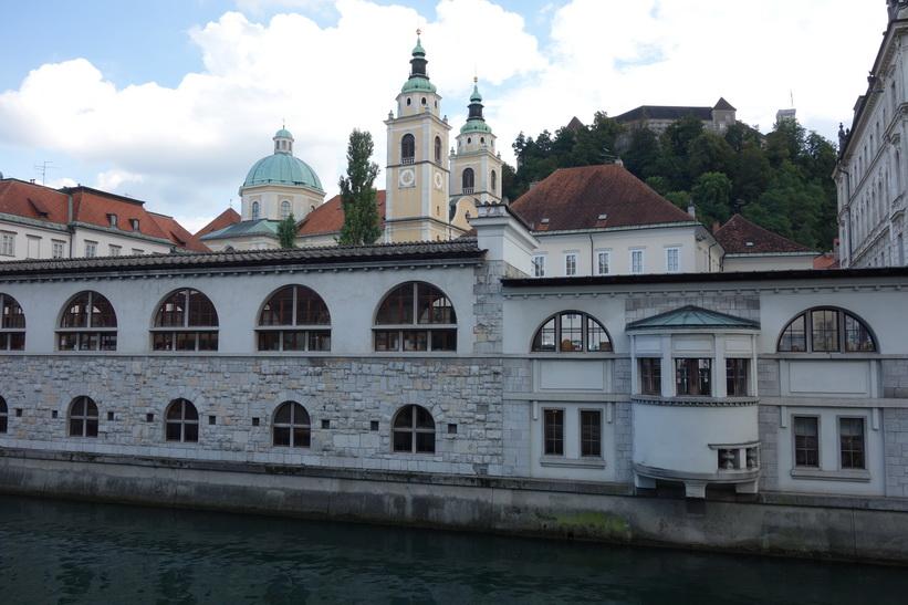 Ljubljanica-floden med Saint Nicholas Cathedral i bakgrunden, Ljubljana.