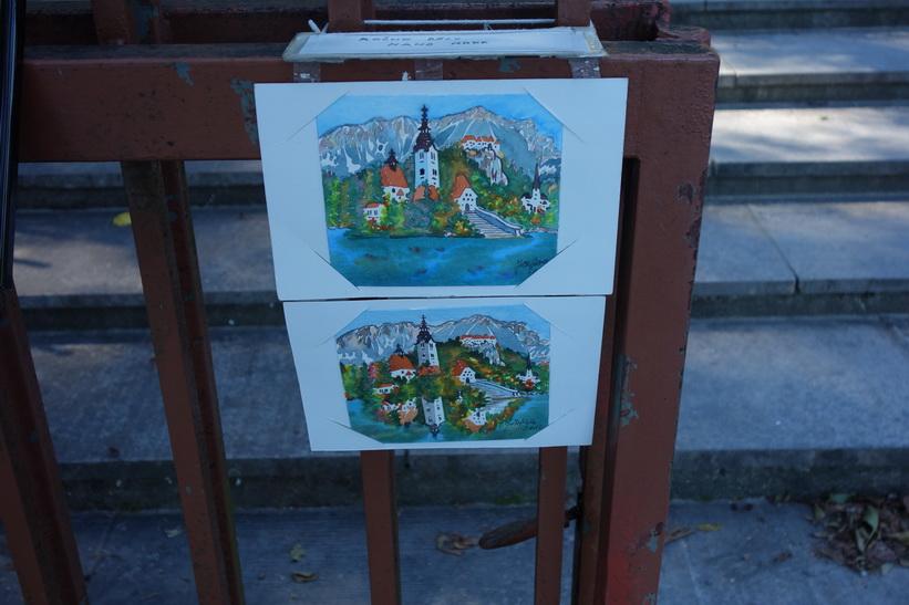 Vackra målningar med Bled island och Lake Bled som motiv.