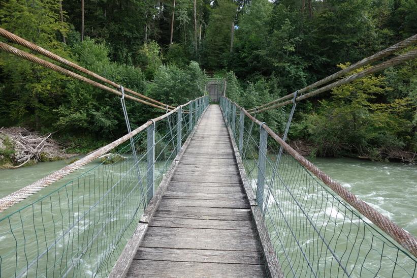 Hängbro över floden Sava, Radovlica.