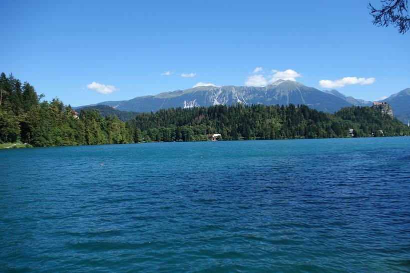 Lake Bled med Bled castle i bakgrunden.