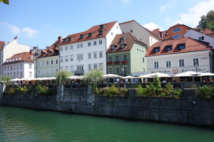 Floden Ljubljanica med den vackra omgivande arkitekturen i centrala Ljubljana.