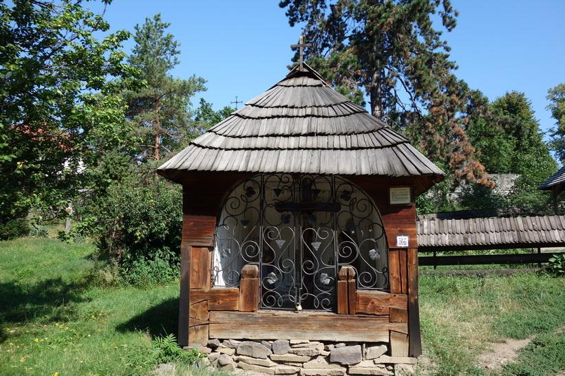 Byggnad vid St Michael's wooden church, Museum of Folk Architecture, Uzhhorod.
