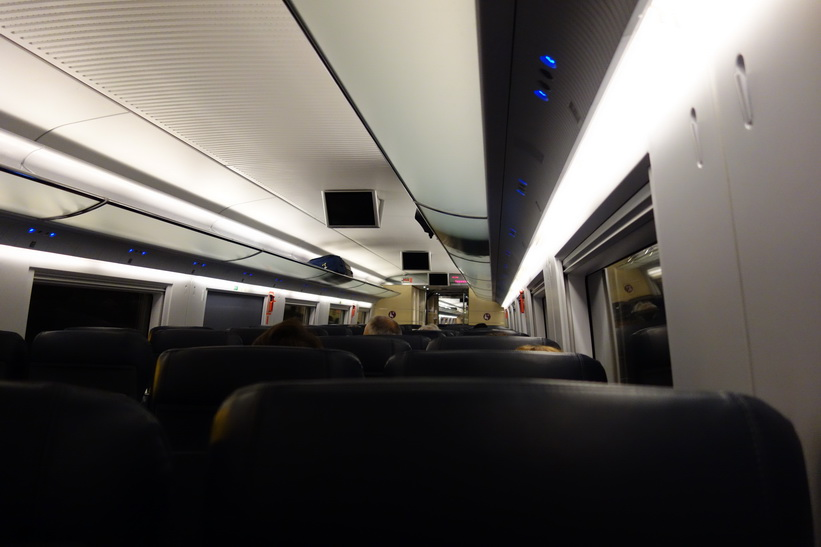 Komforten på snabbtåget mellan Girona och Barcelona var fantastisk.