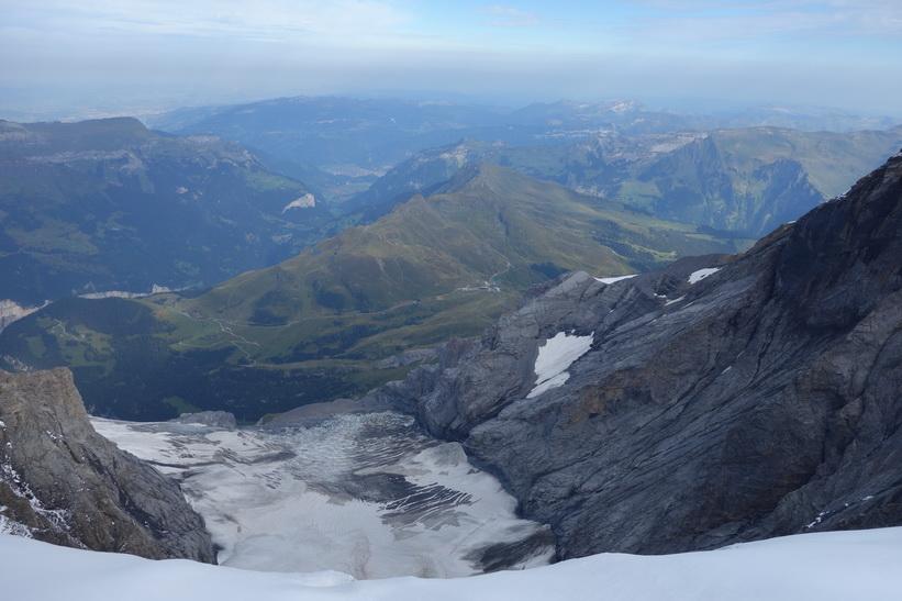 Utsikt över Guggigletscher från Sphinx-terrasen, Jungfraujoch.
