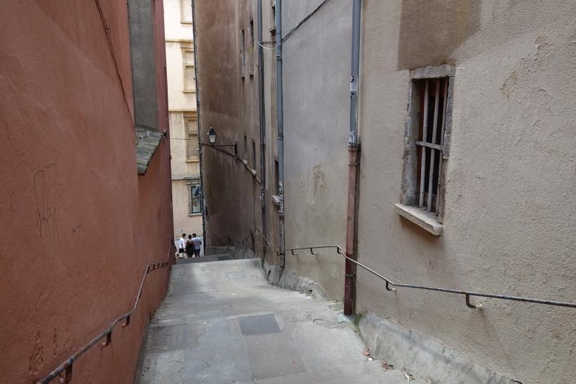 Trappa ner från Fourvière hill till gamla staden, Lyon.